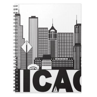 Cuaderno Texto del horizonte de la ciudad de Chicago blanco