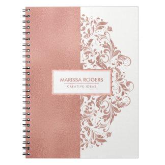 Cuaderno Textura y remolinos modernos del Rosa-Oro en