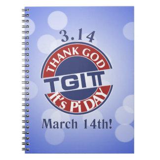 Cuaderno TGIPi agradece a dios su día logotipo rojo/azul de