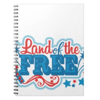 Cuaderno Tierra de los regalos americanos Libres, libertad