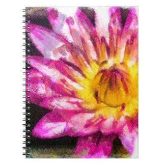 Cuaderno Tinta púrpura de la acuarela del lirio de agua