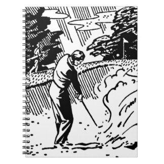 Cuaderno Trampa de arena retra del golfista
