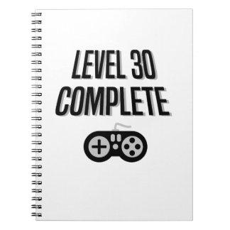 Cuaderno Trigésimo nivel 30 del cumpleaños del videojugador