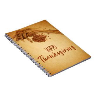 Cuaderno Trigo feliz de la acción de gracias del vintage -