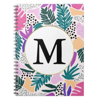 Cuaderno tropical del modelo del monograma de cuaderno