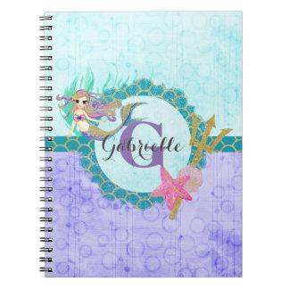 Cuaderno Trullo lindo de la sirena del monograma y acuarela