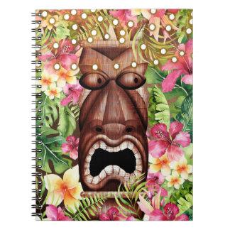 Cuaderno Verano hawaiano de madera de la isla de Tiki Luau