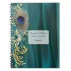 Cuaderno verde azulado del boda de la pluma del