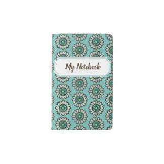 Cuaderno verde azulado estilizado retro de la flor