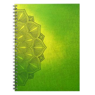 Cuaderno verde con el modelo lateral