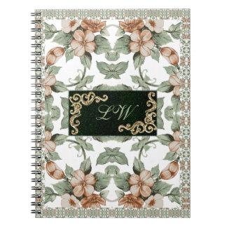 Cuaderno verde oliva del color del vintage - 1a