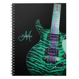 Cuaderno verde personalizado de la música de la