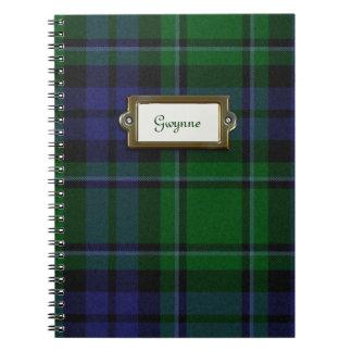 Cuaderno verde y azul de la tela escocesa de