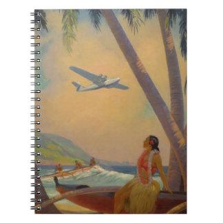 Cuaderno Viaje hawaiano del vintage - bailarín del chica de