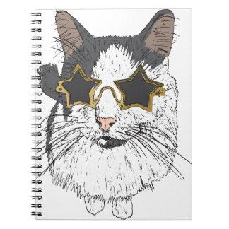 Cuaderno Vidrios de la estrella del gato que llevan