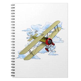 Cuaderno Vuelo del biplano del vintage