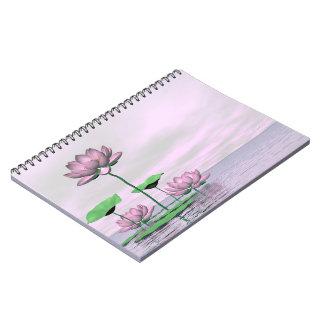 Cuaderno Waterlilies y flores de loto rosados - 3D rinden