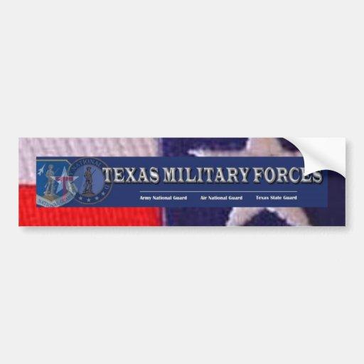 Cuadrado de la bandera de TX, fuerzas militares de Pegatina De Parachoque