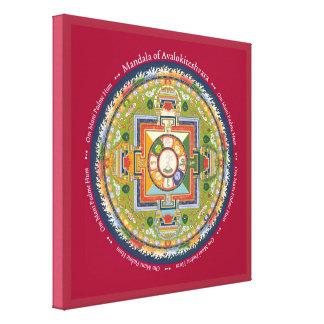 CUADRADO de la LONA - mandala de Chenrezig (compas Lona Envuelta Para Galerías