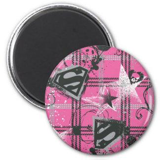 Cuadrado de la salpicadura del rosa de Supergirl Imán Redondo 5 Cm
