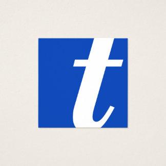 cuadrado del azul del monograma tarjeta de visita cuadrada