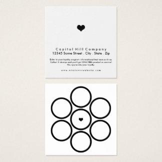 cuadrado del corazón del programa de la lealtad tarjeta de visita cuadrada