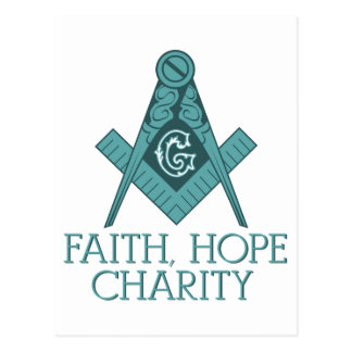Cuadrado del Freemason y caridad de la esperanza Postal