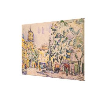 Cuadrado del hotel de Ville en Aix-en-Provence Lienzo Envuelto Para Galerías