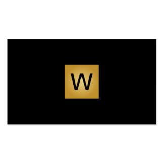 Cuadrado del monograma del oro tarjetas de visita