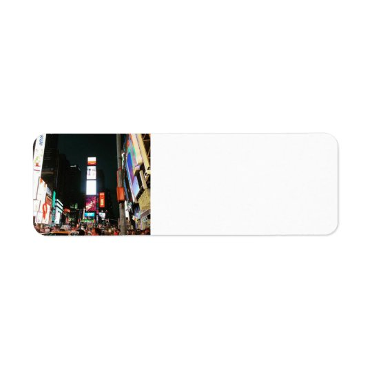 Cuadrado del tiempo, etiqueta del remite de NYC Etiqueta De Remite