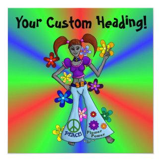 Cuadrado extranjero del hippy invitación 13,3 cm x 13,3cm