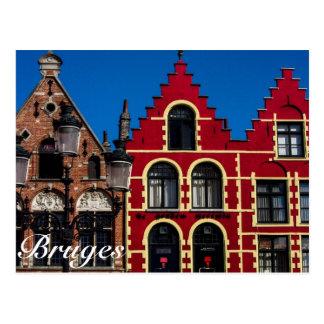 Cuadrado hermoso de Markt de la postal de Brujas