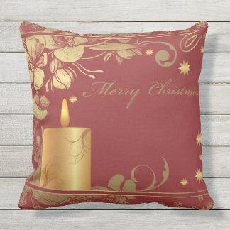 Cuadrado rojo y de oro hermoso del navidad cojín decorativo