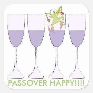 """Cuadrado """"vino y rana """" del pegatina del Passover"""