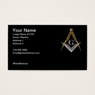 Cuadrado y compás con todo el ojo que ve tarjeta de visita