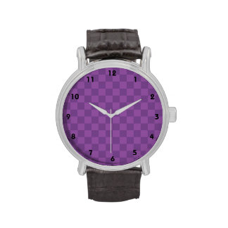Cuadrados a cuadros púrpuras violetas de color de relojes de mano