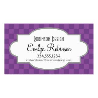 Cuadrados a cuadros púrpuras violetas de color de  plantilla de tarjeta personal