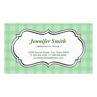 Cuadrados a cuadros verdes elegantes elegantes tarjetas de visita