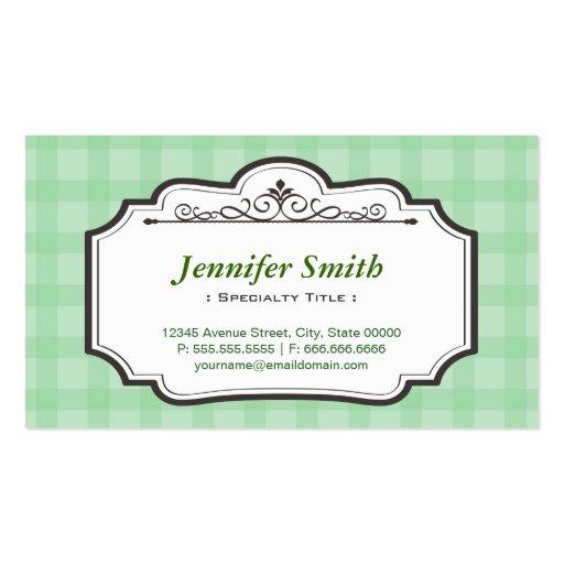 Cuadrados a cuadros verdes elegantes elegantes tarjetas de negocios