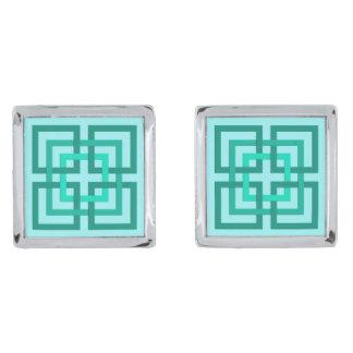 Cuadrados, aguamarina y turquesa geométricos gemelos plateados