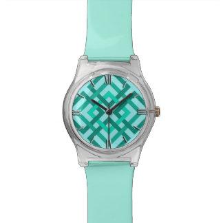 Cuadrados, aguamarina y turquesa geométricos reloj de mano