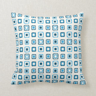 Cuadrados azules en cuadrados azules cojín decorativo