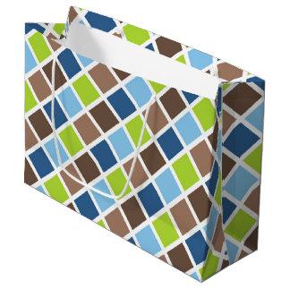 Cuadrados azules y verdes del bebé bolsa de regalo grande