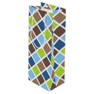 Cuadrados azules y verdes del bebé bolsa para vino