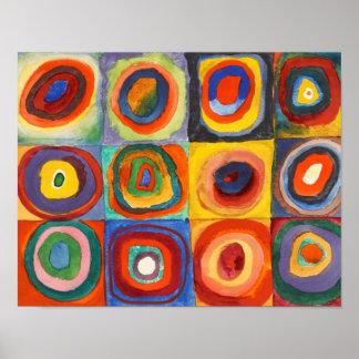 Cuadrados con los círculos concéntricos por póster