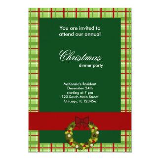 Cuadrados de la cena de navidad invitación 12,7 x 17,8 cm