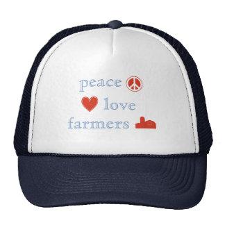 Cuadrados de los granjeros del amor de la paz gorros
