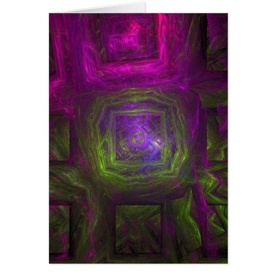Cuadrados del fractal en púrpura y verde rosados tarjeta de felicitación