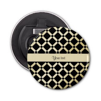 Cuadrados elegantes del negro y del oro abrebotellas