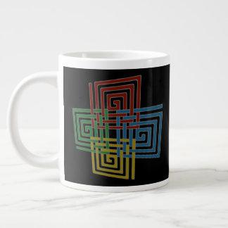 Cuadrados espirales entretejidos taza de café grande
